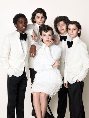 Millie Bobby Brown, Finn Wolfhard, Noah Schnapp, Caleb McLaughlin and Gaten Matarazzo for the May issue of emmy magazine. Photo credit: BrakhaX2 emmy mag contact: Carla Schalman, carla@breakwhitelight.com